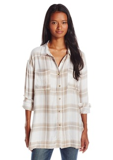 O'Neill Juniors Gretchen Woven Plaid Shirt Blouse