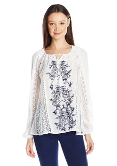 O'Neill Juniors Holland Woven Embroidered Blouse White/White