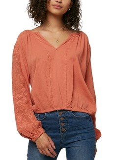 O'Neill Juniors' Lariviere Cotton Lace-Inset Top