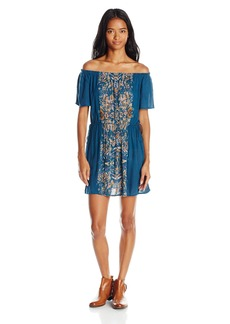 O'Neill Juniors Rae Printed Off the Shoulder Woven Dress