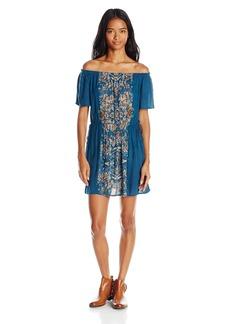 O'Neill Juniors Rae Printed Off the Shoulder Woven Dress