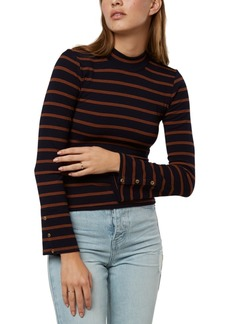 O'Neill Juniors' Roberts Striped Mock-Neck Top