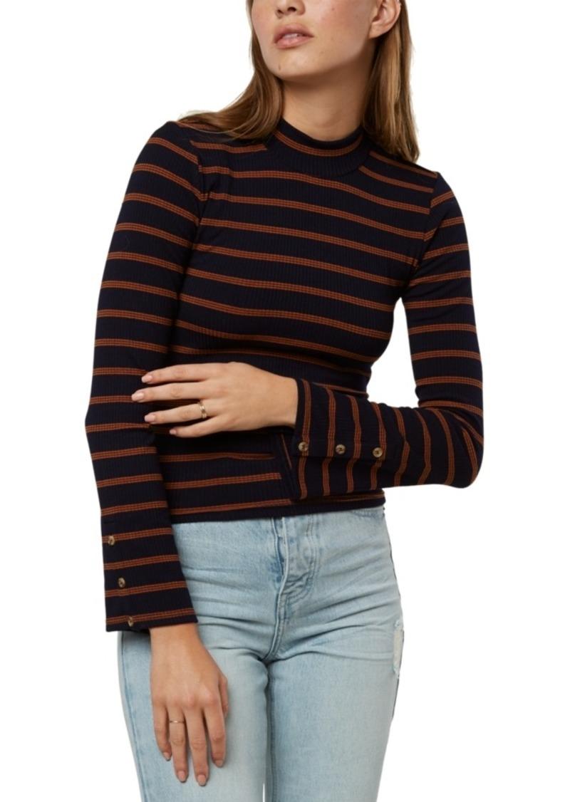 O'Neill Juniors' Roberts Striped Mock-Neck Top