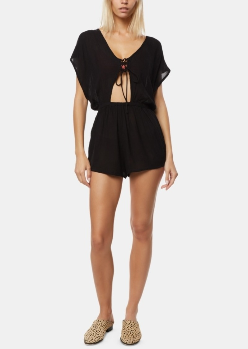 O'Neill Juniors' Salt Water Solids Lace-Up Cover-Up Romper Women's Swimsuit