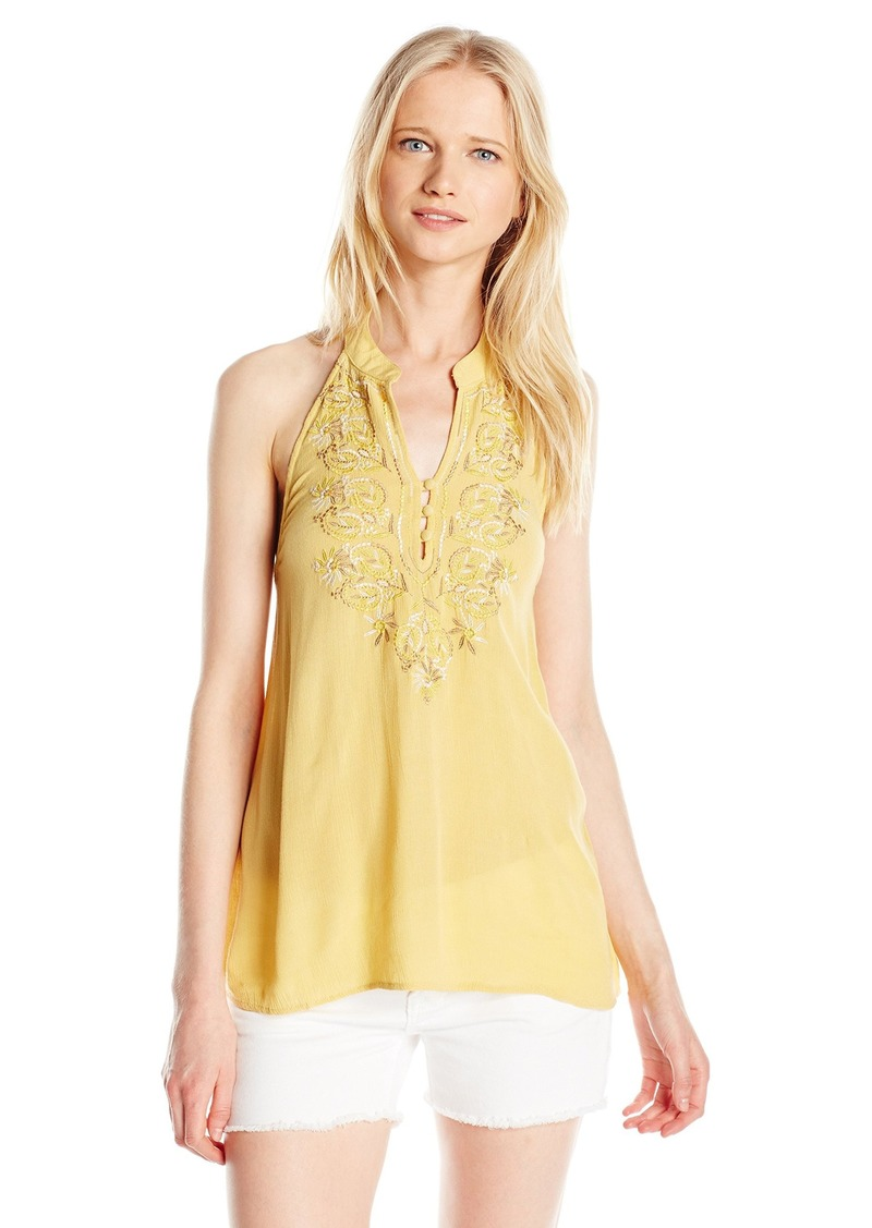 O'NEILL Junior's Sylvia Embroidered Halter Tank Gold