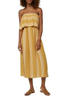 O'Neill Koia Stripe Ruffle Strapless Midi Dress