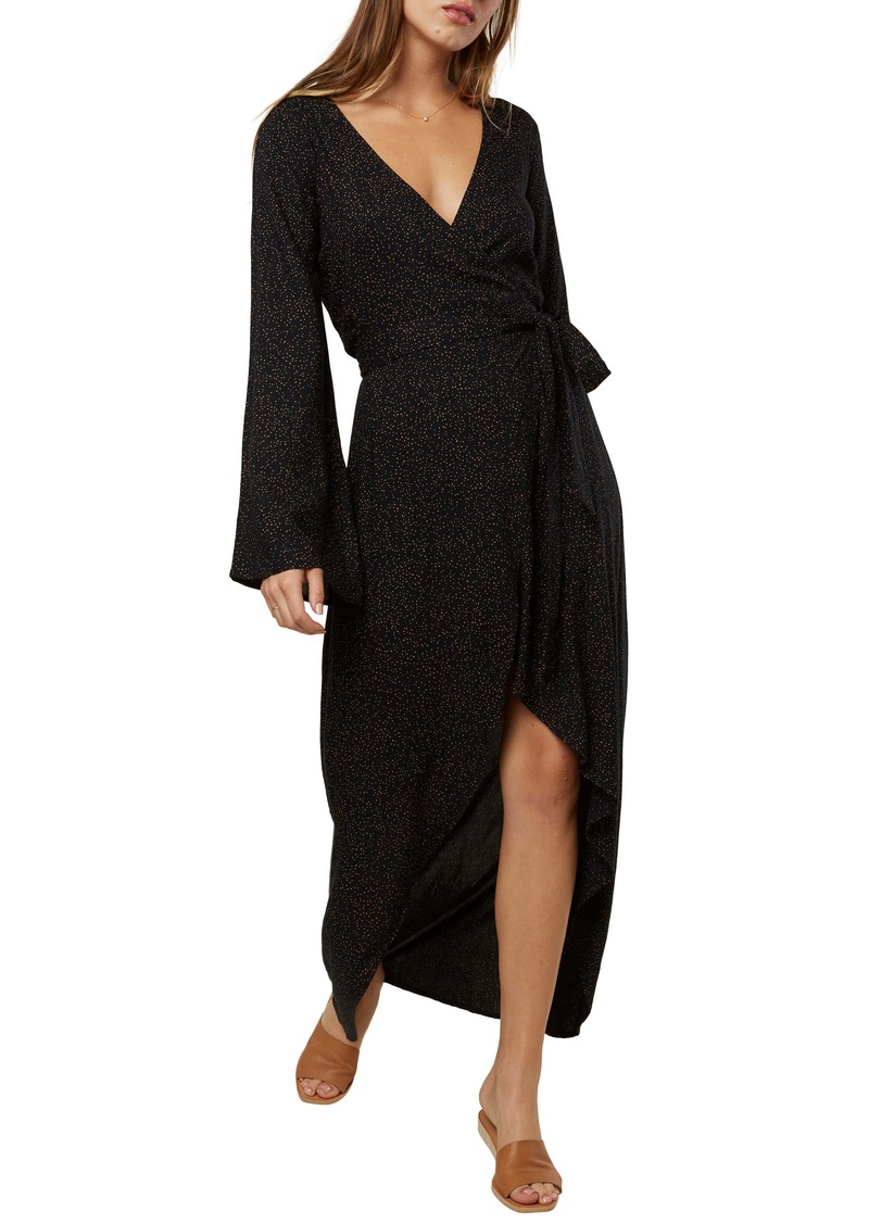 O'Neill Liya Long Sleeve Wrap Maxi Dress