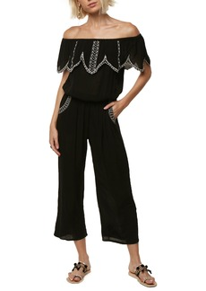 O'Neill Malaga Embroidered Off the Shoulder Jumpsuit