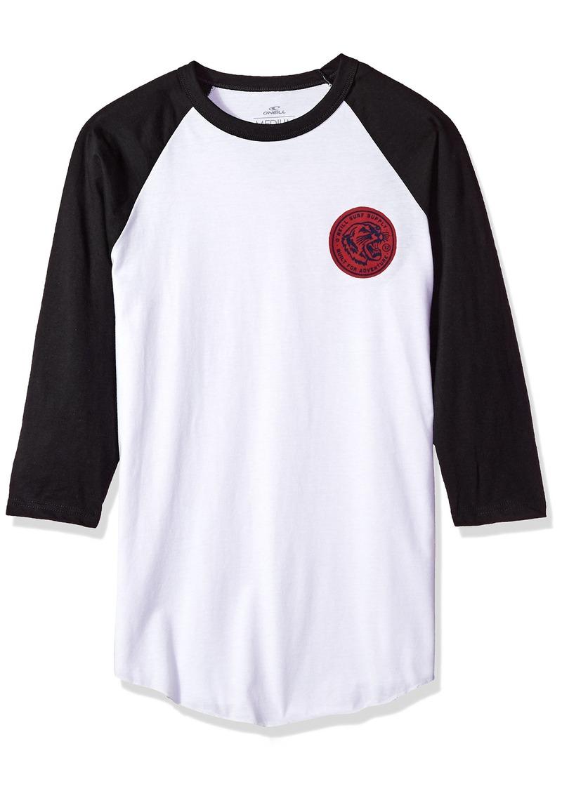 O'NEILL Men's 3/4 Sleeve Raglan Tee Shirt White with Black M