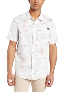 O'Neill Men's Casual Standard Fit Short Sleeve Woven Button Down Shirt White/Busey
