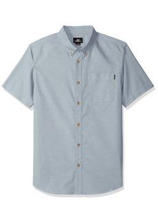 O'Neill Men's Casual Modern Fit Short Sleeve Woven Button Down Shirt dust Blue/Banks S