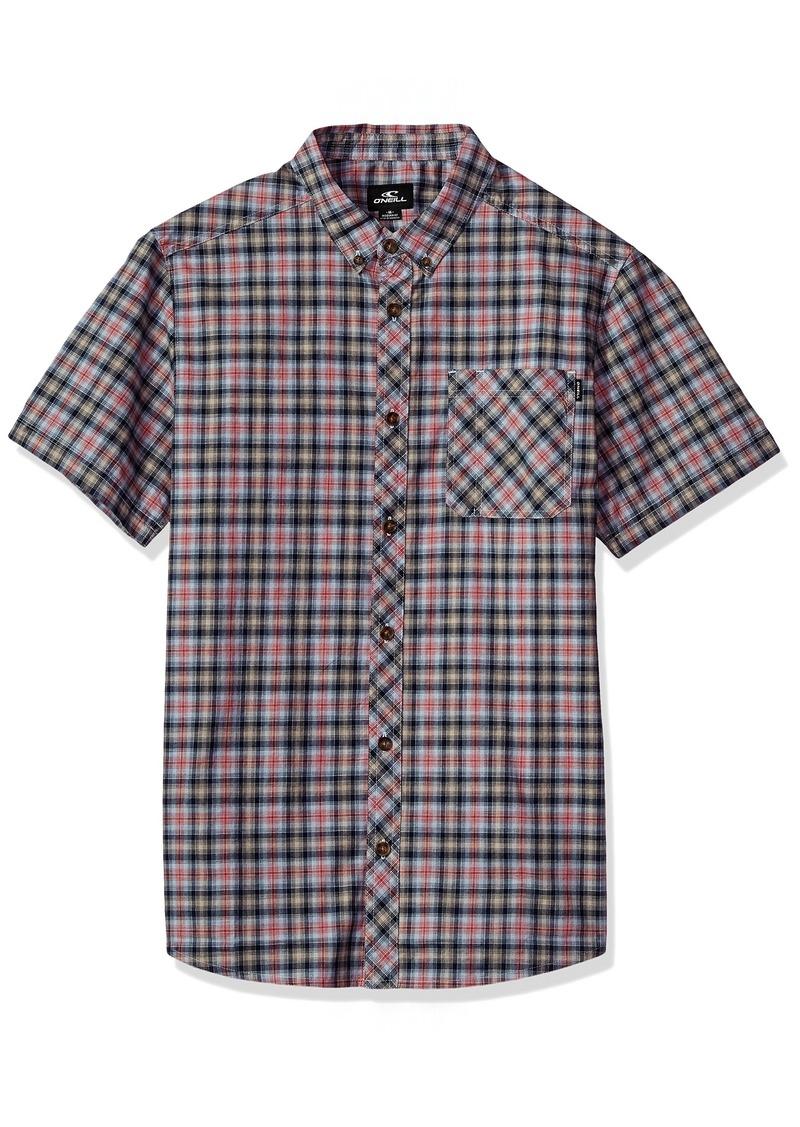 O'NEILL Men's Casual Modern Fit Short Sleeve Woven Button Down Shirt Navy/Fitz S