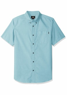O'NEILL Men's Casual Modern Fit Short Sleeve Woven Button Down Shirt Teal/Banks S