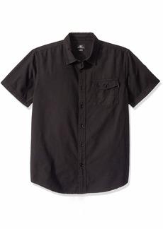 O'NEILL Men's Casual Standard Fit Short Sleeve Woven Button Down Shirt Black/Steaddy M