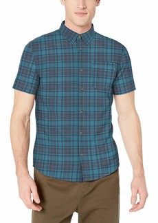 O'Neill Men's Casual Standard Fit Short Sleeve Woven Button Down Shirt Mid Blue/Timebomb L