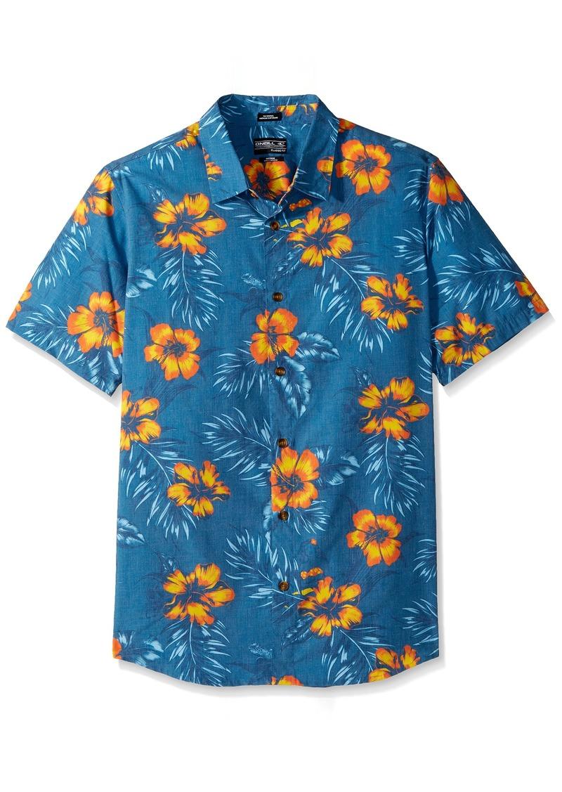 O'NEILL Men's Casual Standard Fit Short Sleeve Woven Button Down Shirt Ocean/Ala Moana S