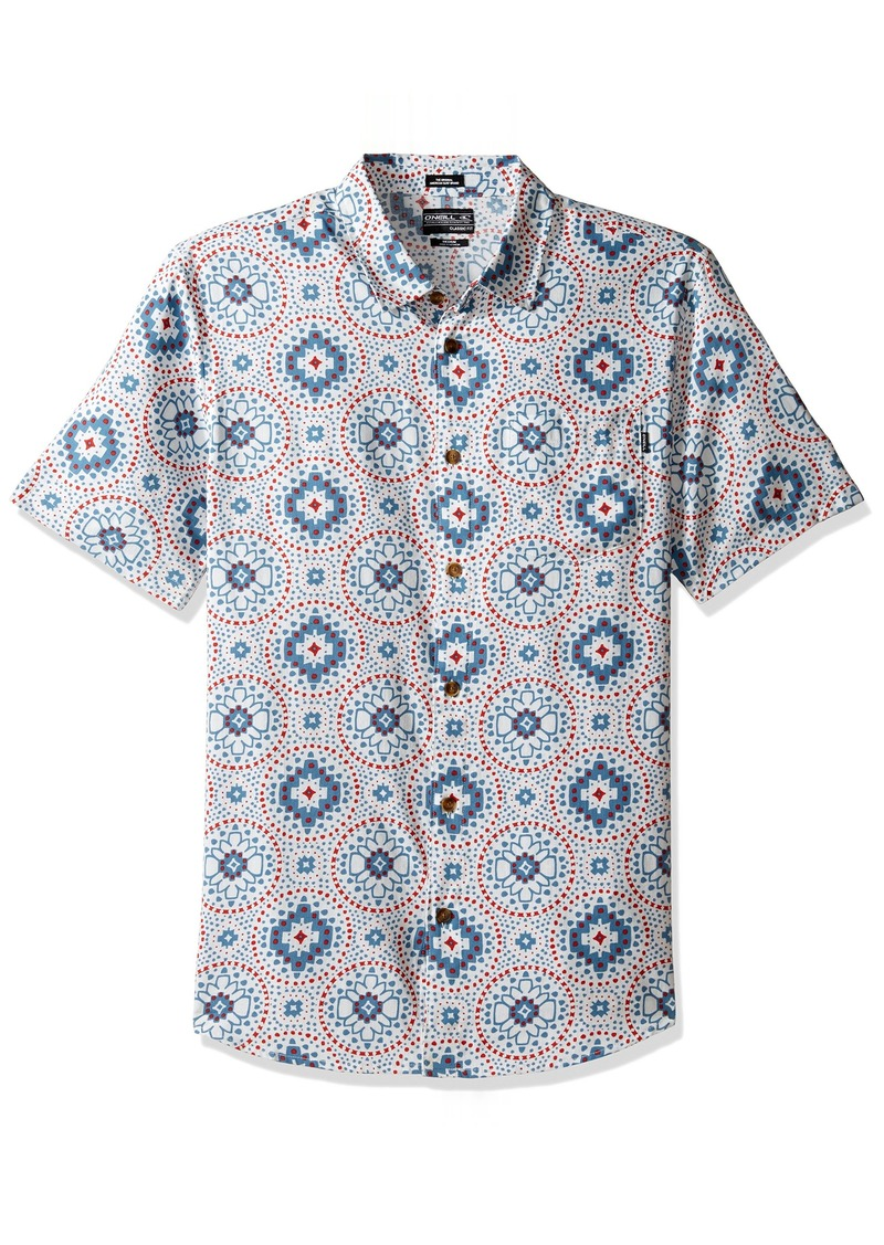 O'Neill Men's Casual Standard Fit Short Sleeve Woven Button Down Shirt White/Abro-geo