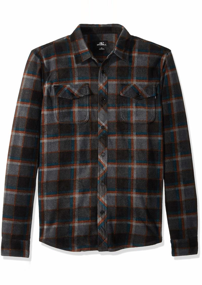 O'NEILL Men's Flannel Long Sleeve Woven Casual Button Down Shirt Asphalt/Crest S