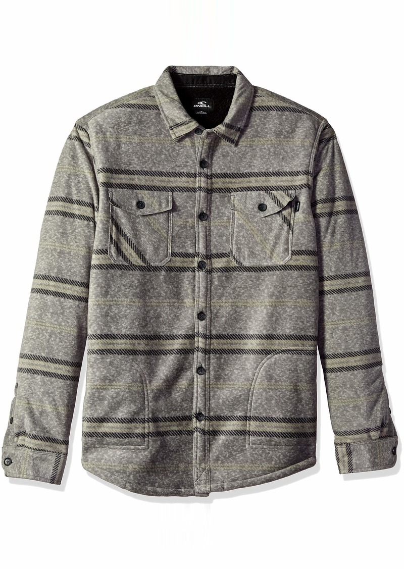 O'Neill Men's Glacier Stretch Button Up Superfleece Sherpa Lined Jacket sherpa heather grey M