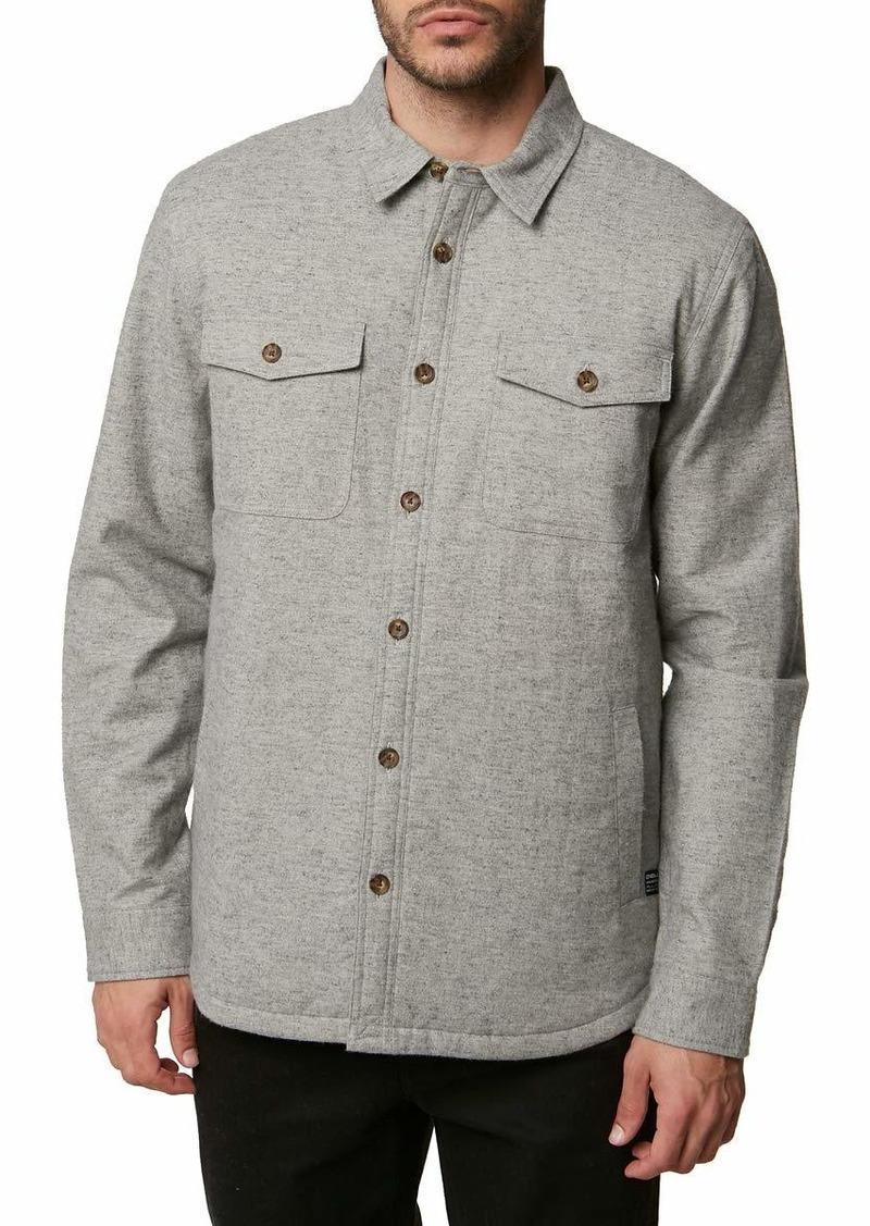 O'Neill Men's Flannel Long Sleeve Woven Casual Button Down Shirt Heather Stone/Gravel L