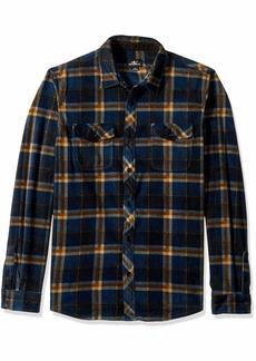O'Neill Men's Flannel Long Sleeve Woven Casual Button Down Shirt Navy/Crest S