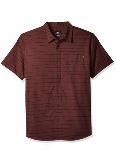 O'Neill Men's Modesto Stripe Short Sleeve Woven Shirt Wine XXL