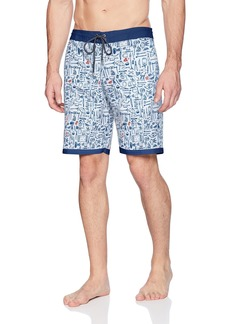 O'Neill Men's Party Print Cruzer Stretch Boardshort Growler red/White/Blue