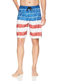 O'Neill Men's Quick Dry Party Boardshort KEG Leg RED White Blue