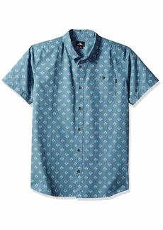 O'Neill Men's Standard Fit Short Sleeve Woven Button Down Mini Print Shirt  L