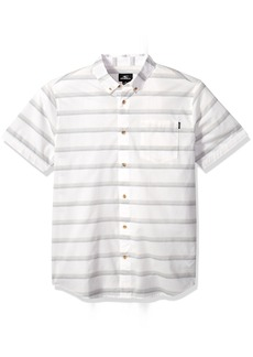 O'Neill Men's Standard Fit Stripe Short Sleeve Stretch Woven Shirt  L
