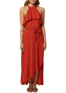 O'Neill Misty Ruffle Asymmetrical Maxi Dress
