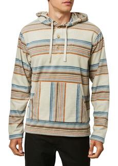 O'Neill Newman Stripe Fleece Henley Hooded Poncho