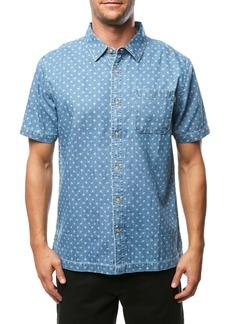 O'Neill Palm Brawl Print Short Sleeve Denim Button Up Sport Shirt