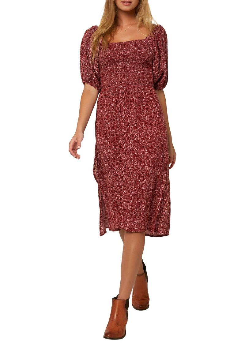 O'Neill Paloma Puff Sleeve Midi Dress