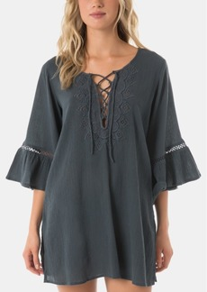 O'Neill Salt Water Solids Long-Sleeve Dress Cover-Up Women's Swimsuit