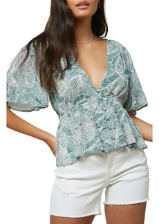 O'Neill Wes Palm Print Short Sleeve Woven Top