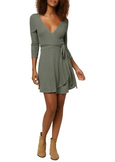 O'Neill Westling Knit Long Sleeve Wrap Minidress