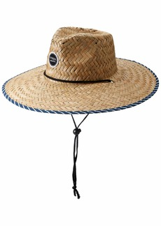 O'NEILL Women's Adjustable Chin Strap Straw Lifeguard Hat Mood Indigo/Sun Road