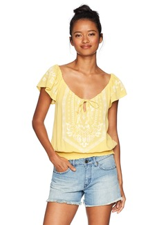 O'Neill Women's Anya Flutter Sleeve Top Misted Yellow-YEL L