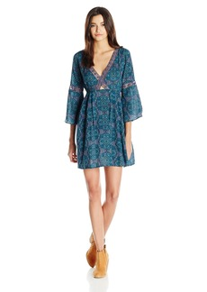 O'Neill Juniors Beatrix Printed Dress with Cut Out Front Blue