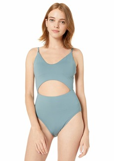 O'Neill Women's Keyhole Cutout One Piece Swimsuit Eucalyptus/Salt Water Solids SP19