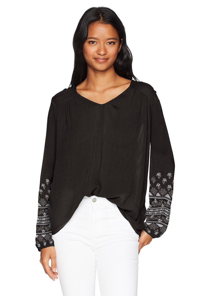 O'Neill Women's Mariana Embroidered Long Sleeve Top Black XS