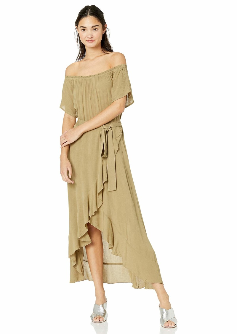 O'NEILL Women's Off Shoulder Front Tie Woven Midi Dress Mermaid/Connie