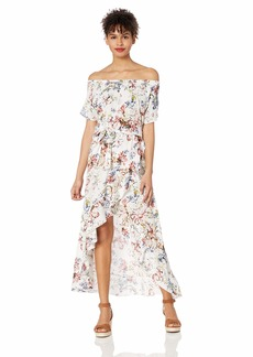O'Neill Women's Off Shoulder Front Tie Woven Midi Dress Naked/Connie