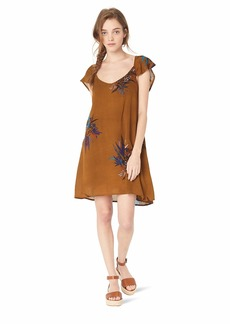 O'NEILL Women's V-Neck Cap Sleeve Short Dress Golden Brown/Maggie