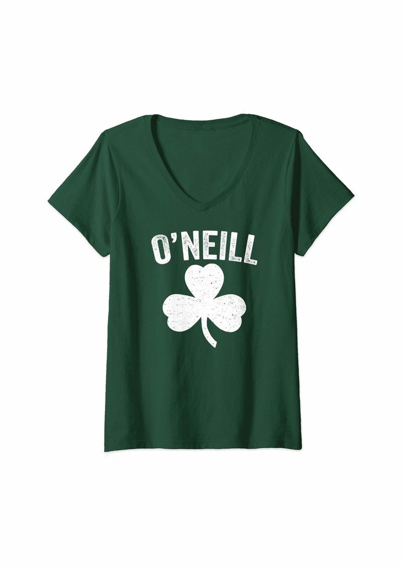 Womens O'Neill Nebraska Irish Shamrock St. Patrick's Day V-Neck T-Shirt