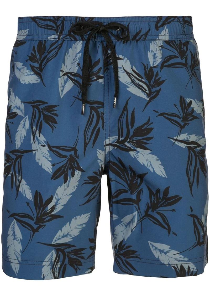 Onia Charles tropical leaf print swimming trunks