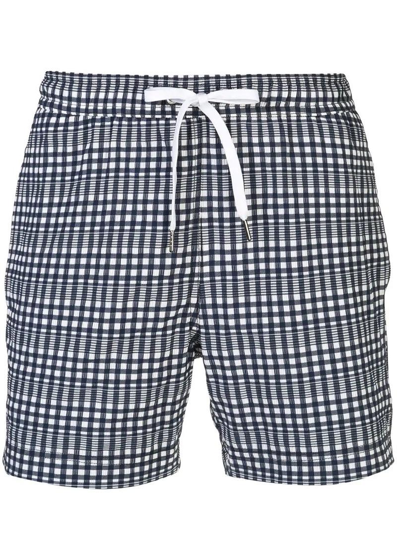 Onia Charles plaid print swim shorts
