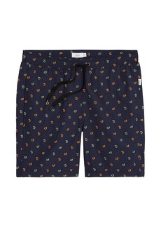 Onia Charles Neon Embroidered Swim Trunks