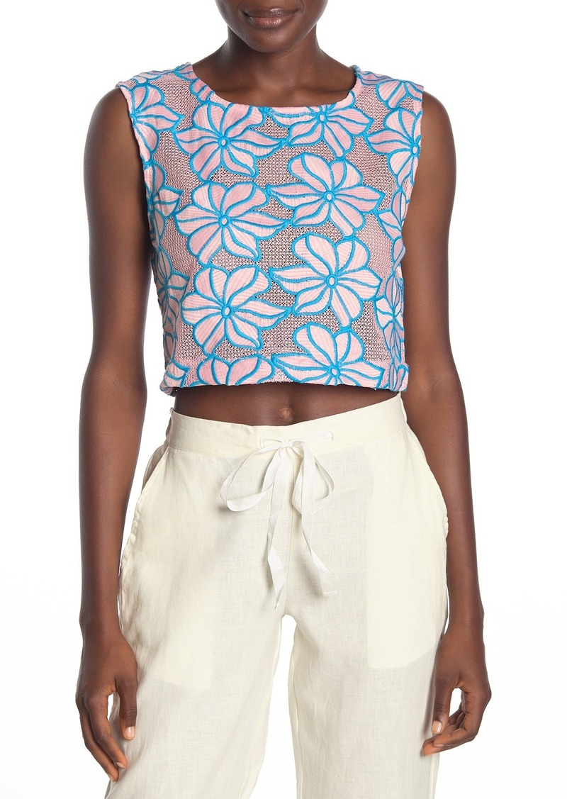 Onia Charlotte Embroidered Floral Print Cropped Tank Top